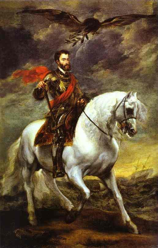 Oil painting:Portrait of Charles V on Horseback. 1620