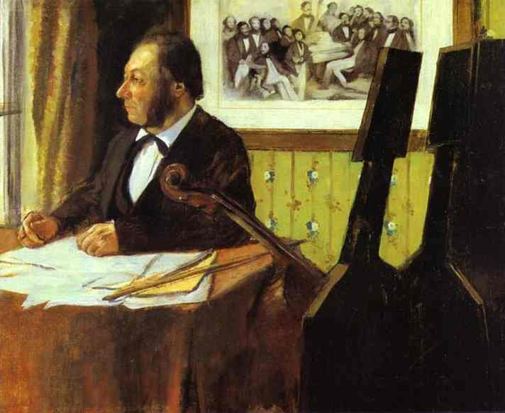 Oil painting:Portrait of Louis-Marie Pilet, Violoncellist in the Orchestra of the Opera. 1868