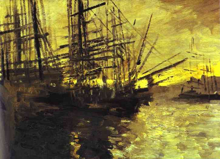 Oil painting: Ships in Marseilles Port. 1890