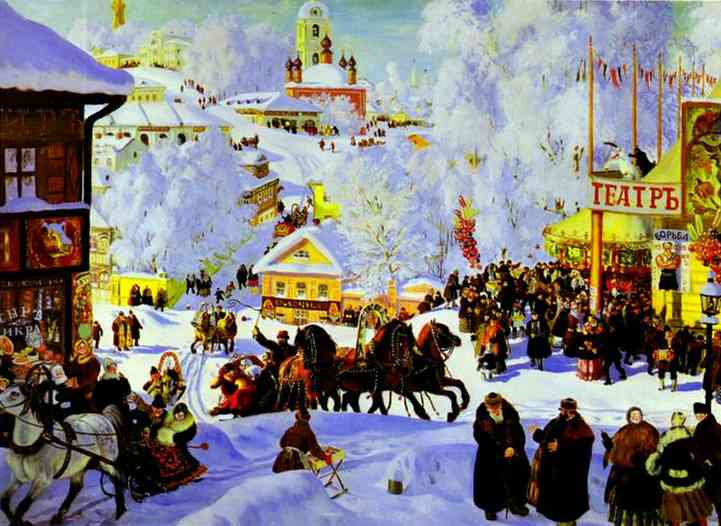 Oil painting: Sleigh Riding. 1919