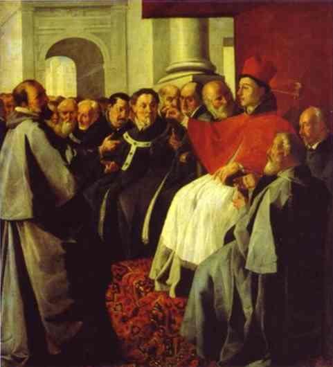 Oil painting:St. Bonaventura at the Council of Lyons.