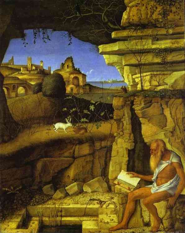 Oil painting:St. Jerome Reading. c. 1480