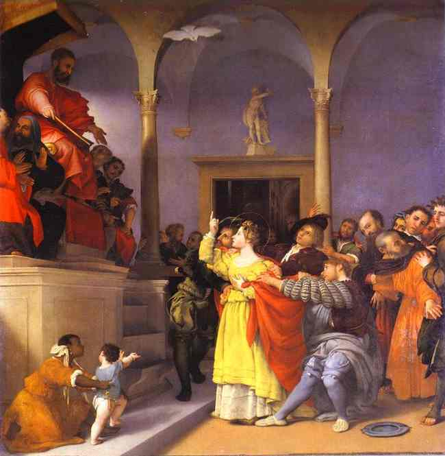 Oil painting:St. Lucia before the Judge. 1532