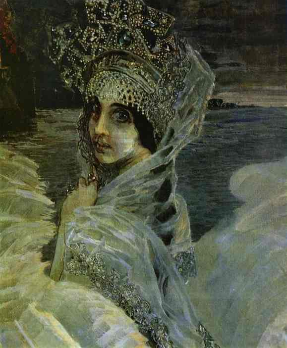 Oil painting:Swan Princess. Detail. 1900