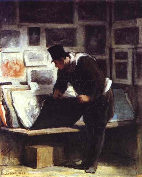 Oil painting:The Etching Amateur. c. 1860