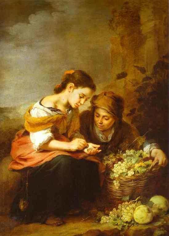 Oil painting:The Little Fruit Seller. c.1670