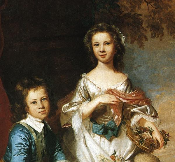 Oil painting:Thomas and Martha Neate, with Tutor. Detail. Oil on canvas. 167 x 180 cm. 1748