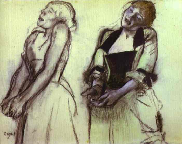 Oil painting:Two Studies of Cafe Concert Singers. 1878