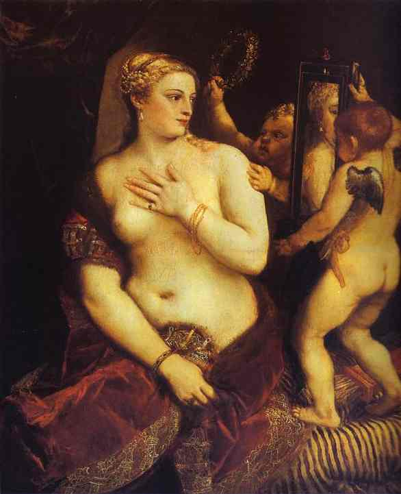 Oil painting:Venus with a Mirror. c.1555