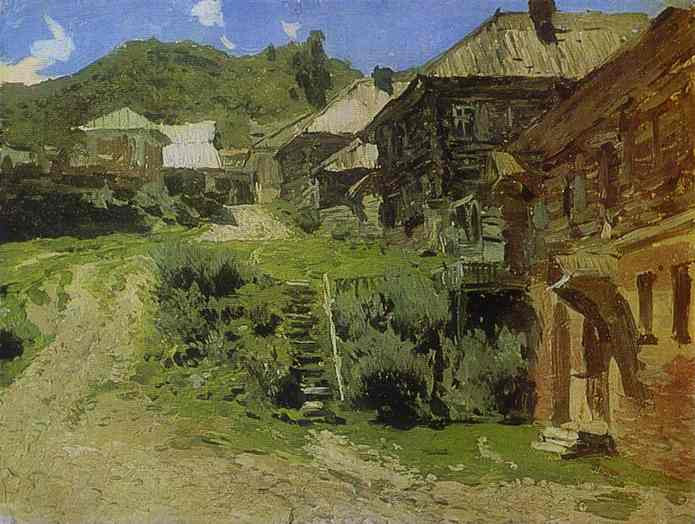 Oil painting:View in Plios. Study. 1888