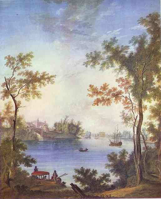 Oil painting:View on the Gatchina Palace from the Silver Lake. 1798
