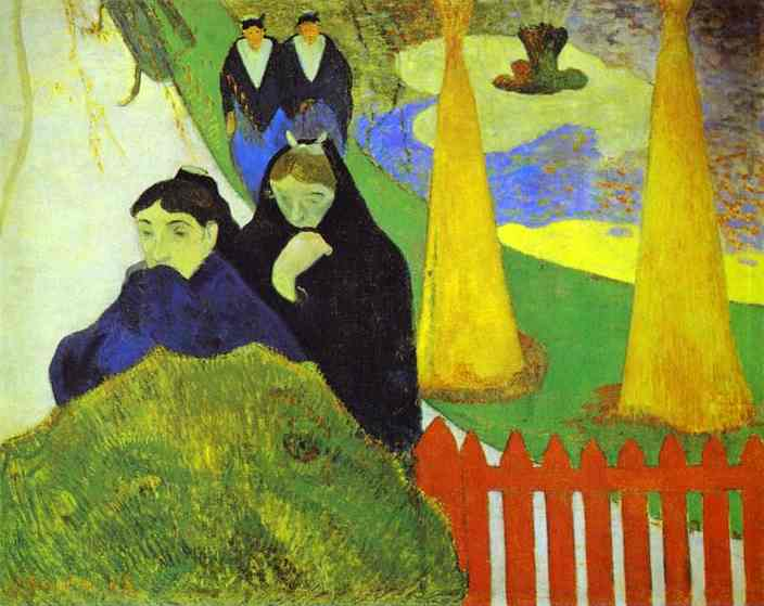 Oil painting:Women from Arles in the Public Garden, the Mistral. 1888