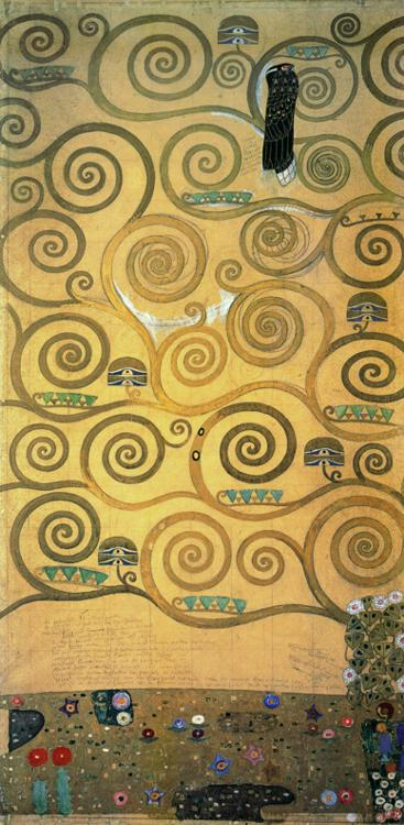 Oil painting:Cartoon for the frieze of the Villa Stoclet in Brussels: Left part of the tree of life.