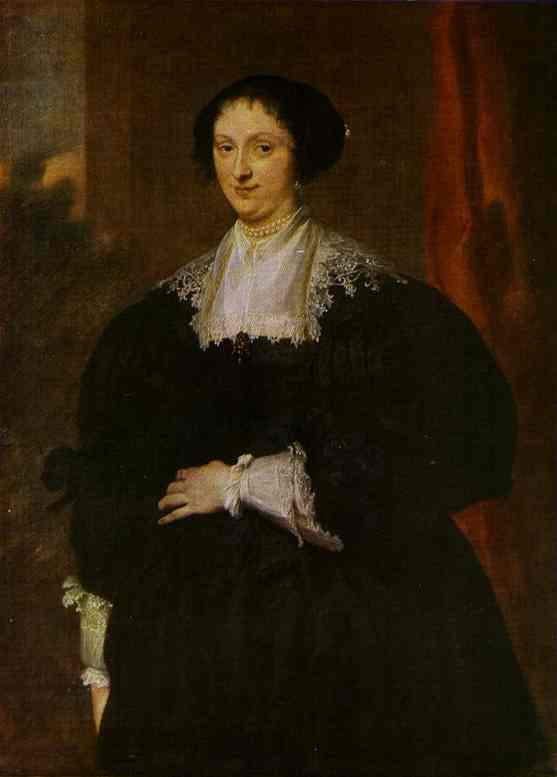 Oil painting:Portrait of a Lady Dressed in Black, Before a Red Curtain. c.1630