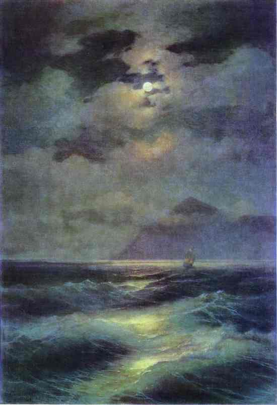 Oil painting:View of the Sea by Moonlight. 1878