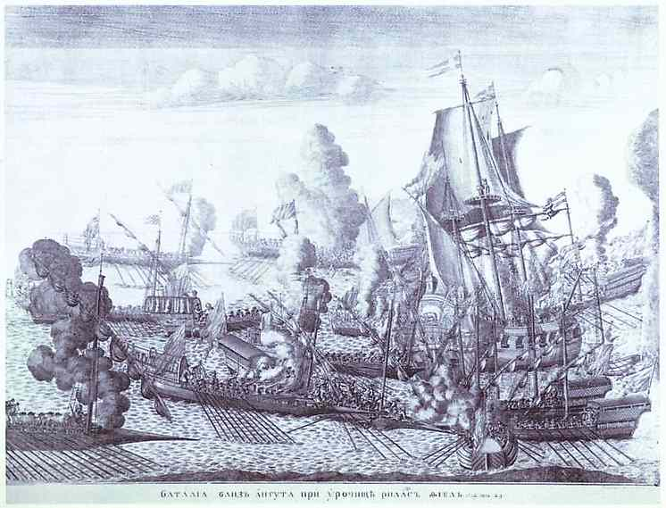 Oil painting:Battle of Gangut, June 27, 1714