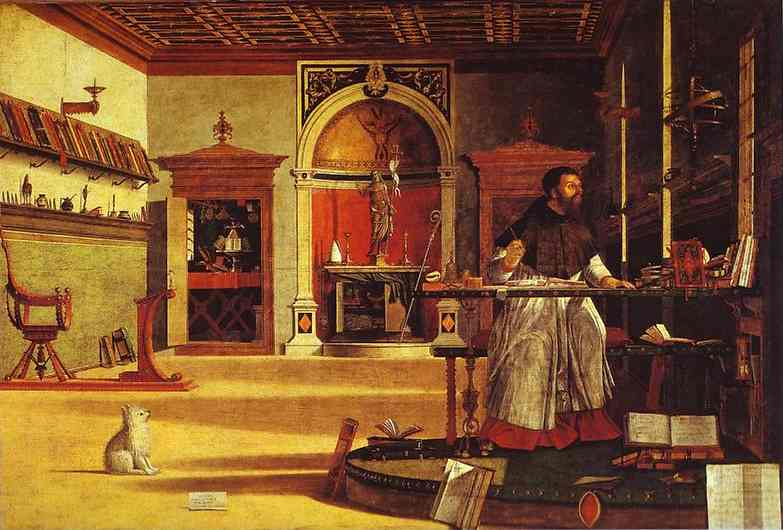 Oil painting:Life of St. Jerome: Vision of St. Augustine. 1502