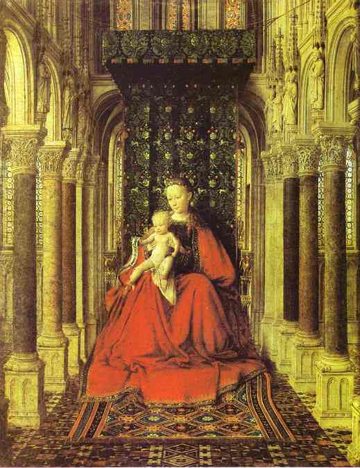 Oil painting:The Virgin and Child in a Church (central section of a portable altar). 1437