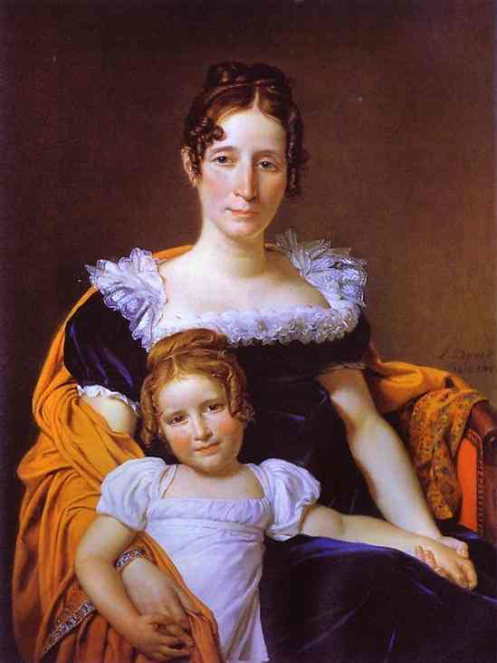Oil painting:Portrait of the Countess Vilain XIIII and Her Daughter. 1816