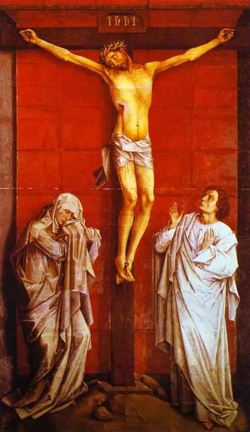 Oil painting:Crucifixion. c.1460