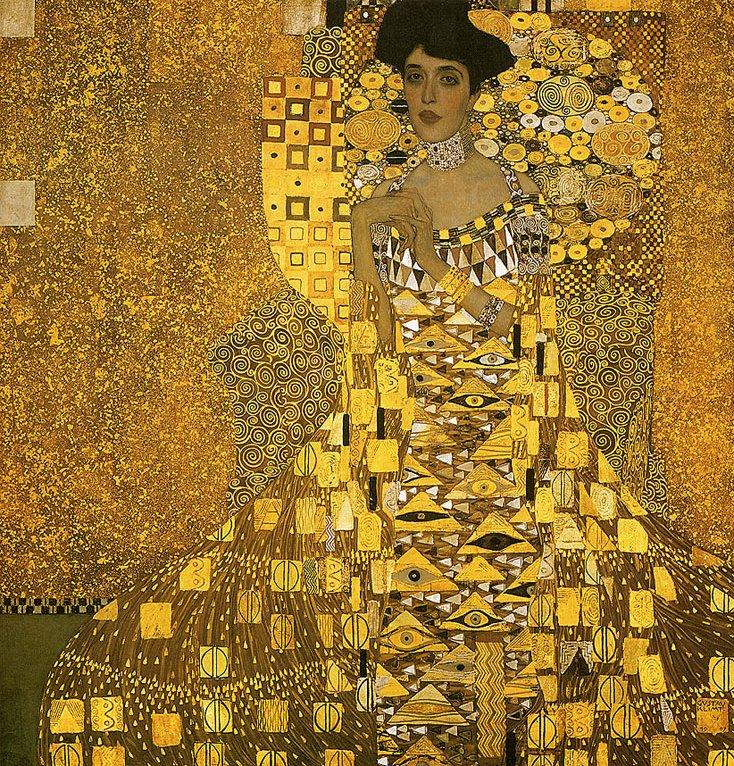 Portrait of adele bloch gold foil for Gold paintings on canvas