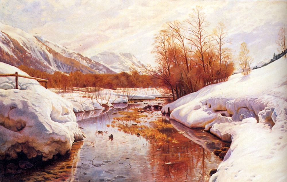 A Mountain Torrent In A Winter Landscape