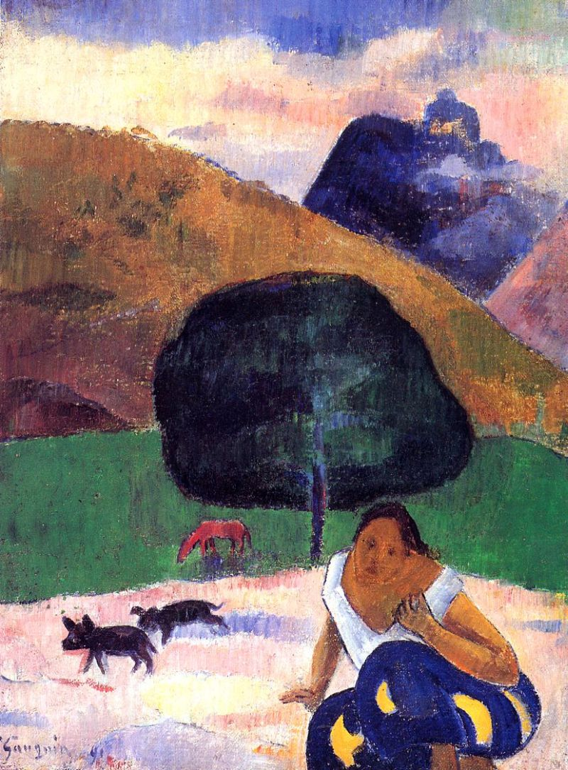 Landscape with Black Pigs and a Crouching Tahitian