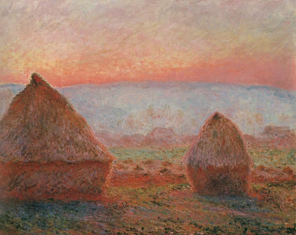 Haystacks at Giverny the evening sun