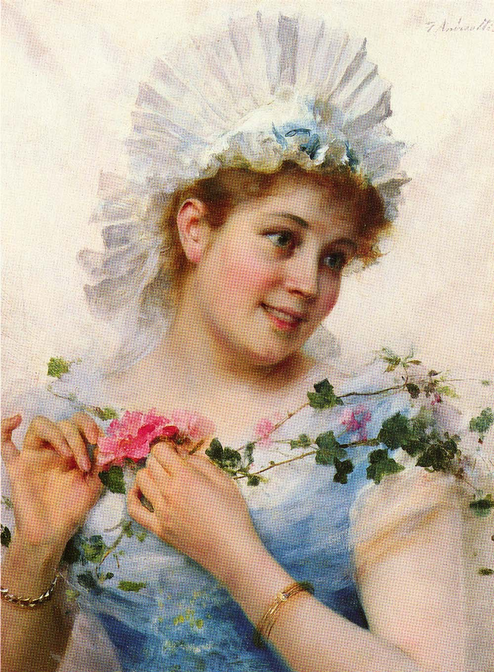 A Young Girl With Roses