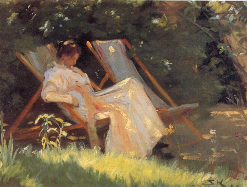 Marie en el jardin reading