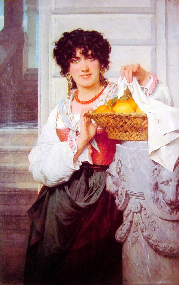Pisan Girl with Basket of Oranges and Lemons