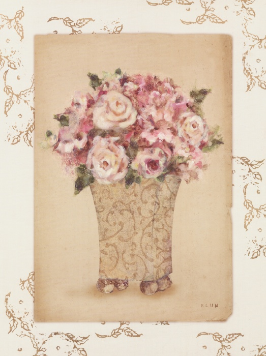 Roses in a Painted Vase I
