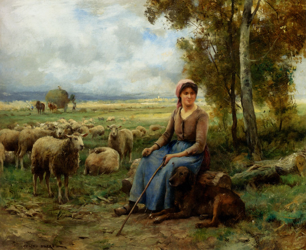 Shepherdess Watching Over Her Flock