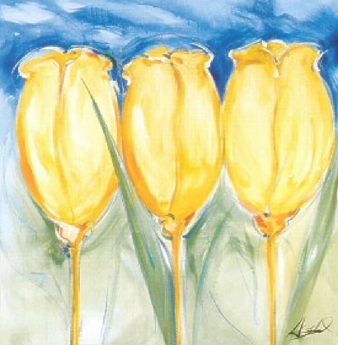 3 Yellow Tulips