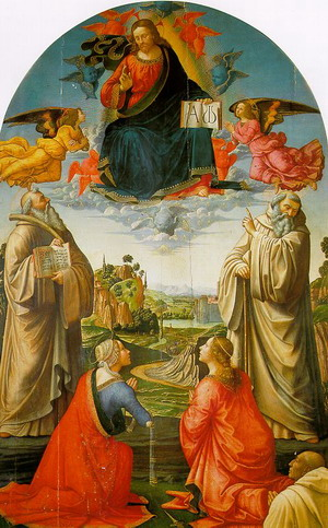 Christ in Heaven with Four Saints & a Donor