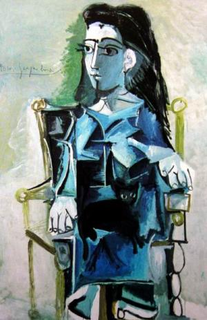 Jacqueline Seated with her Black Cat