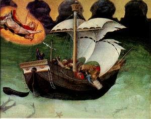 Quaratesi Altarpiece, St. Nicholas saves a storm- tossed ship 1425