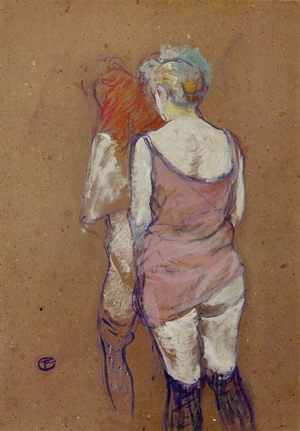 Two Half-Naked Women Seen from behind in the Rue des Moulins Brothel 1894