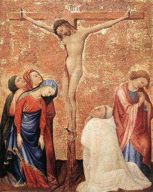 Christ on the Cross with a Carthusian Monk 1389-95