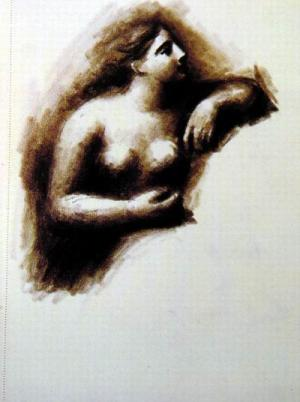 Bust of a Woman Leaning of an Elbow