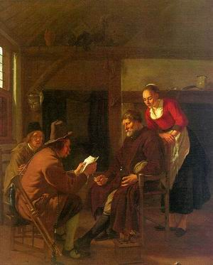 Messenger Reading to a Group in a Tavern, 1657