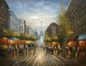 Paris Street Scenery Towards Eiffel Tower (61151#)