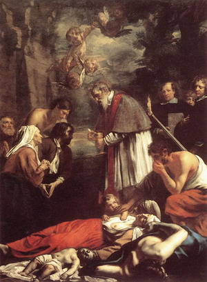St Macarius of Ghent Giving Aid to the Plague Victims 1673