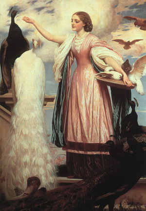 A Girl Feeding Peacocks 1863