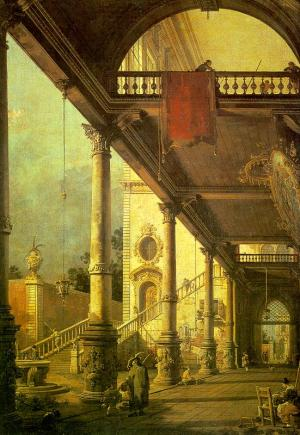 Capriccio, A Colonnade opening onto the Courtyard of a Palace