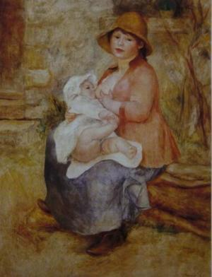 Maternity-Baby at the Breast (Aline and her son Pierre),first version,1886