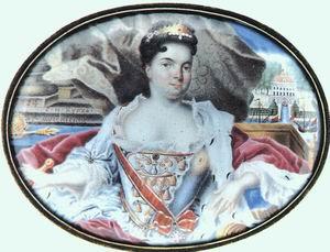 Portrait of Catherine I in front of Ekaterinhov 1724