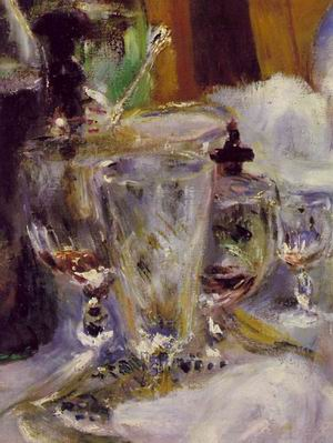 The Luncheon of the Boating Party (DETAIL OF glasses on table) 1881