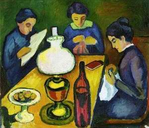 Three Women at the Table by the Lamp