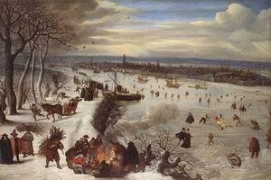 View of Antwerp with the Frozen Schelde 1590